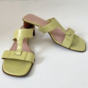 Anne Klein Leather Slide Heels Sandals KKROSIE 8M